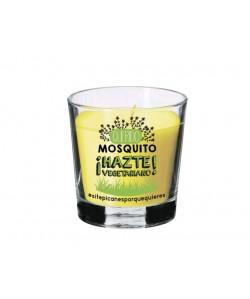 Vela anti-mosquitos de citronela con mensaje hazte vegetariano