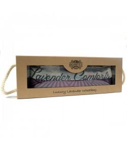 Bolsa-cojín térmico de trigo y lavanda en caja de regalo.