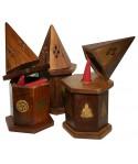 Mini caja madera pirámide de humo para conos.