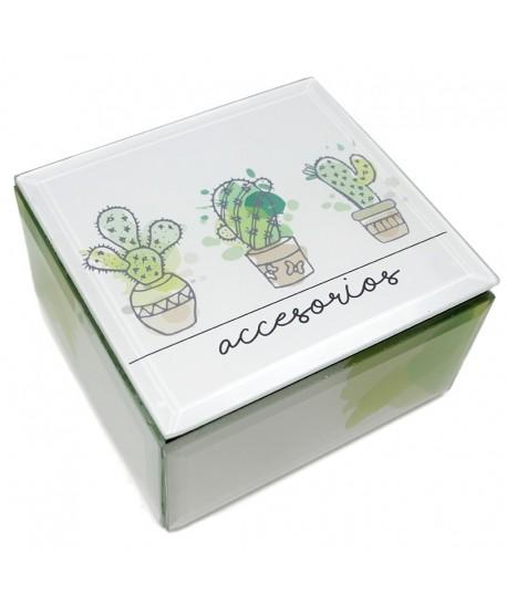 """Caja cristal cactus """"Golden Chic"""""""