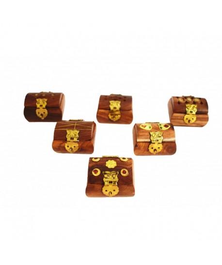 Mini joyeros madera y terciopelo interior
