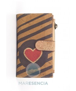 Billetero monedero corcho ecológico - Heart