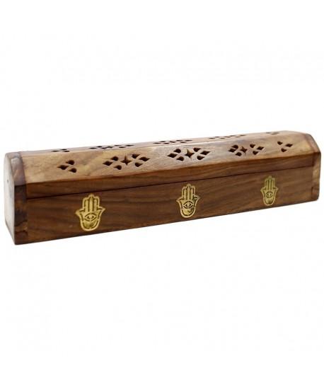 Soporte y caja en madera para varillas y conos de incienso